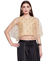 studio rasa Women's Net Sequins Embroidered Cape Top (TPWC119112_Beige)