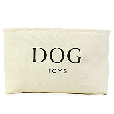 Cream Canvas Dog Toy Basket - High Quality Basket for Dogs Toy Storage. 40cms (16in) x 30cms (12in) x 25cms (10in)