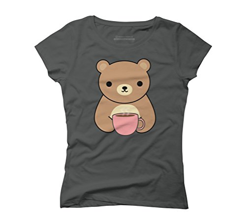 Cute and Kawaii Brown Bear Drinking Coffee Women's Graphic T-Shirt - Design By Humans Anthracite