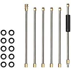 Manyo. Lot de 6 Pcs Tige d'Extension pour Pistolet Nettoyeur Haute Pression, Rallonge Pulverisateur en Acier Inoxydable + Laiton- 38 cm