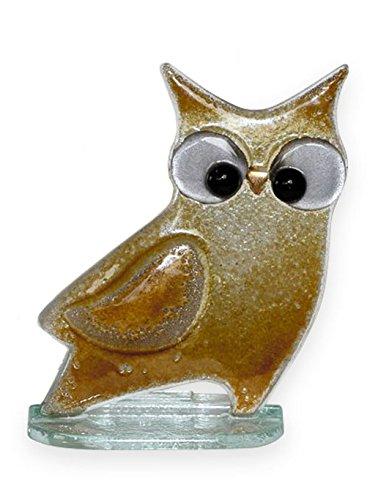 Qualität Fused Glas Figur–Wise Old Owl Briefbeschwerer/Ornament–Handarbeit Glas braun Eule - Owl Gewicht Papier