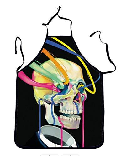 Ckvne 3D Funny Schürzen Halloween Art Skull Adult Küchenschürze Dinner Party Kochschürze Cuisine Pinafore Children 54x72Cm