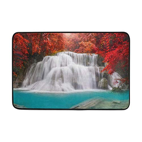 LINGVYTE Nature Waterfall Lake Forest Autumn Scenery Doormats Floor Mats Shoe Scraper for Home Indoor Entrance Way Front Door 23.6 by 15.7 Inches 40 x 60 cm (Hose Service Forest)