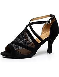 JSHOE Mujer Sexy Salsa Jazz Dance Shoes Salón De Baile Tango Latino Zapatos De Baile Zapatos De Tacón Alto,B-heeled8.5cm-UK5.5...