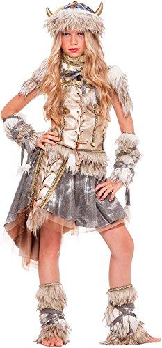 (Chiber - Kinder Mädchen Wikinger Kostüm (Größe 8))