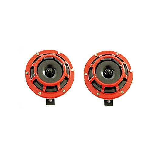 Neuheit Motorrad-anhänger (125 mm rund rot Horn Gitter-Halterung Super Tone Laut Compact elektrische 12 V -14000601 FBA)