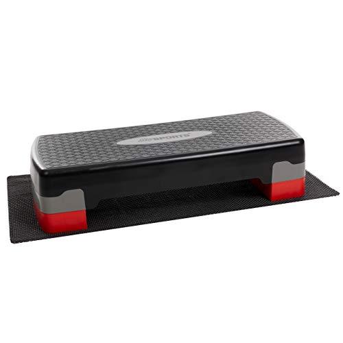 ScSPORTS Stepper, Stepbench Aerobic-Fitness-Steppbrett, schwarz grau rot, 2-Fach höhenverstellbar, 68 x 30 x 10/15 cm, inkl. Unterlegmatte