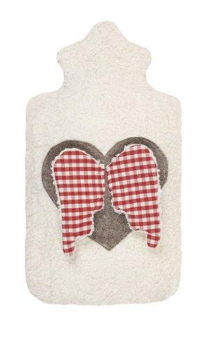 Efie Wärmflasche Herz mit Flügeln, Material aus kontrolliert biologischem Anbau, 100% Made in Germany seit über 60 Jahren (100% Wollfilz Herz)