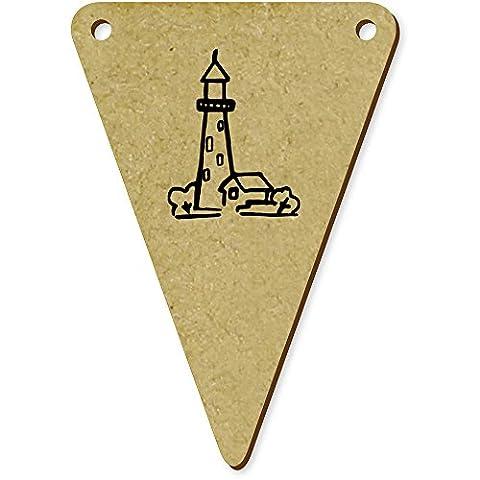 5 x 70mm 'Leuchtturm' Wimpel / Banner aus Holz (BN00029743)