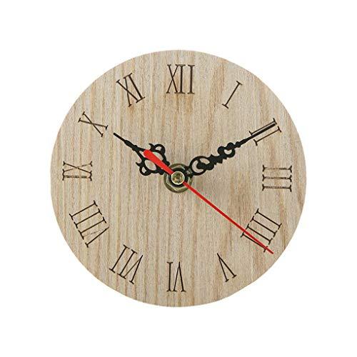 Babysbreath17 Vintage Pared Redondo Madera Reloj Despertador
