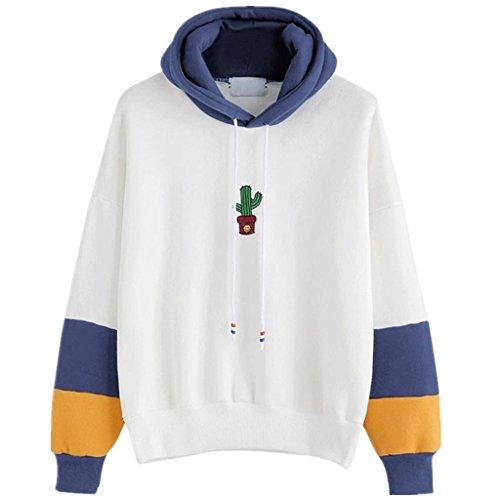 Pull Femmes Angelof Sweat-Shirt Femme Manches Longues Cactus Imprimer Sweat à Capuche Pull Capuche Tops Blouse (M, Bleu)