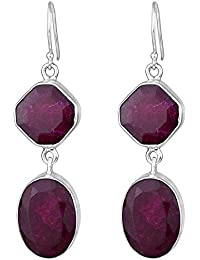 925 Sterling Silver Ruby gemstone Dangle Earrings Jewelry 11.96 g cci fashion stylish & classy ring design for girls and women by CrystalCraftIndia