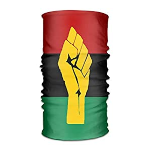 Zzxi Unisex Black Power Pan African Flag Multifunction Bandana Headband Athletic Headwear Sweatband,Magic Scarf,Neck Balaclava,Helmet Liner,Tube Mask,UV Resistence Outdoor Sport Yoga