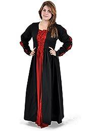Vêtements Moyen-Âge - Robe classique, deux cordelettes - Pour femme - Matière coton solide - Rouge et noir