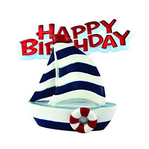Creative Tortenaufsatz Segelboot mit Schriftzug Happy Birthday (Einheitsgröße) (Weiß/Marineblau/Rot)