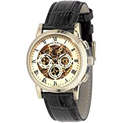 Rotary Men's Automatic Watch with Gold Dial Analogue Display and Black Leather Strap GS02375/01