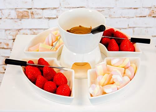 Homezone 10 Stk weiße Keramik Teelicht Kerze Käse / Schokoladen-Fondue Set mit 4 Küche und Edelstahl Stahl Gabeln Mikrowellen- und Geschirrspüler sicher