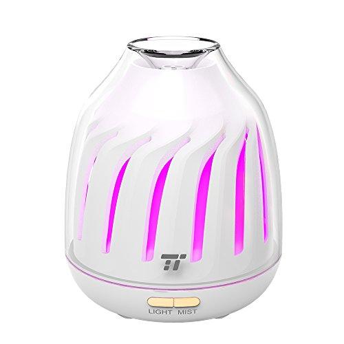 Diffuseur d'Huiles Essentielles 120mL TaoTronics Aromathérapie (Mode d'Éclairage Respirant, 5 Couleurs LED, 2 Modes de Brume, Arrêt Automatique, Super Silencieux) Diffuseur de Parfum, Humidificateur Ultrasonique Aromatique