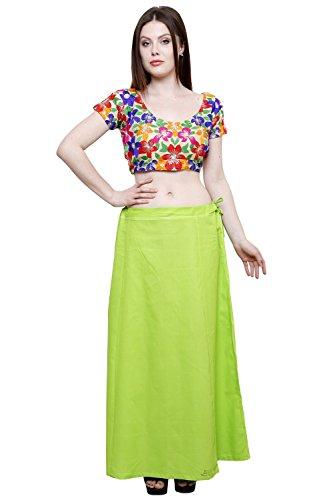 Pistaa Women's Cotton Parrot Green Colour Readymade Solid Inskirt Saree petticoats