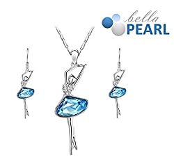 Bella Pearl Designer Lady Crystal Pendent and Earrings Necklace with Best Offer For Girls and Womens.