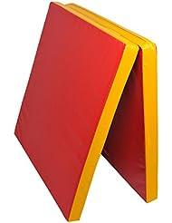 Grevinga RG 35 - Colchoneta de gimnasio, plegable, 200 x 100 x 8 cm, color rojo y amarillo