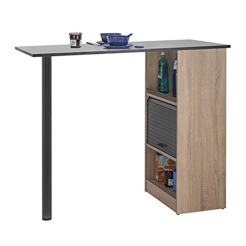 Tousmesmeubles Table comptoir de Cuisine Bois/Noir - FAYTOU - L 130 x l 58 x H 107 - Neuf