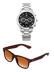 Cafuer Chronograph Look with Date Calendar Analogue Black Dial Mens Watch & BIG Tree Cinnamon Brown Color UV Protected Wayfarer Sunglasses Goggles Combo Set