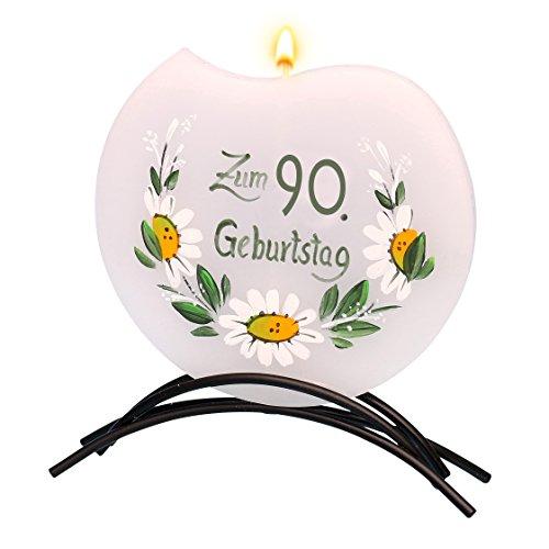 Dekohelden24 Hochwertige Flachkerze, mit Motiv 90. Geburtstag 16 x 16 cm