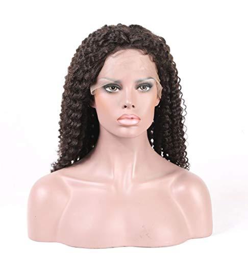 PKQ® Perücken Damen, 100% Echte Human Hair Vordere Spitze Perrücke Frauen Lang Wellig Locken Volle Manuelle Menschliche Haar Perücke Long Gelockt Front Lace Wig Curly Haarteile - Kostüm Brasiliano