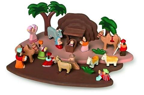 Krippenspiel handgeschnitzt aus Holz, mit allen Figuren aus der Bibelgeschichte, als schöne Weihnachtsdeko und/ oder zum Spielen für Kinder (Krippenspiel König Kostüm)