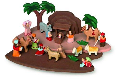 Preisvergleich Produktbild Legler Krippenspiel handgeschnitzt aus Holz, mit allen Figuren aus der Bibelgeschichte, ein Krippenspiel der besonderen Art, verzaubert Klein und Groß