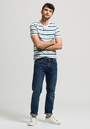 ARMEDANGELS Herren T-Shirt aus Bio-Baumwolle - Dean Inside Stripe - FAIRTRADE, GOTS, ORGANIC, CERES-008 blau/weiß