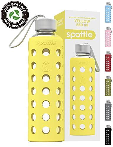 spottle® Glasflasche mit Silikonhülle auslaufsicher - Trinkflasche Glas 750ml - spülmaschinenfest/Wasserflasche Glas mit Schutzhülle aus Silikon. Ideal für unterwegs, Fitness, Yoga, Sport - BPA frei -