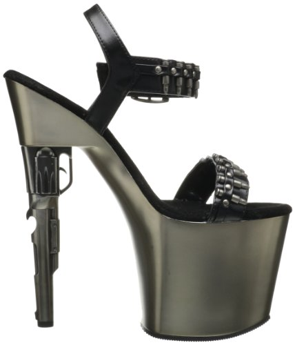 BONDGIRL-712 Blk Faux Leather/Pewter