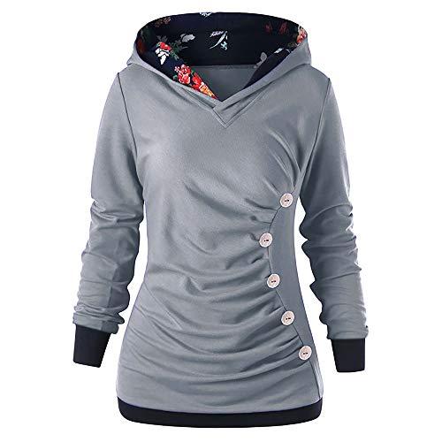 (Yvelands Dame Langarm-Pullover mit Knopf gedruckt Pullover Herbst Sweatshirt)