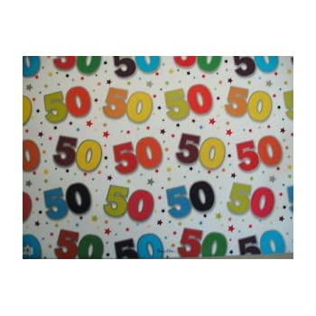 2 SHEETS OF GOOD QUALITY THICK GLOSSY 50TH BIRTHDAY WRAPPING PAPER