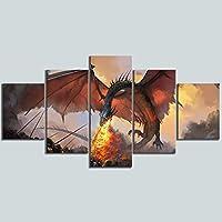 ZYUN 5 Piezas Ilustraciones Pared Arte HD Dragón De Juego De Tronos Pintura Al Óleo sobre Lienzo Fantasía Mural Decoración del Hogar,B,30×40x2+30×60x2+30x80×1