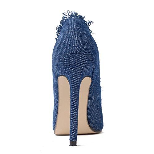 GS~LY Flash point lumineux de grande taille chaussures denim haut talon chaussures femme Blue