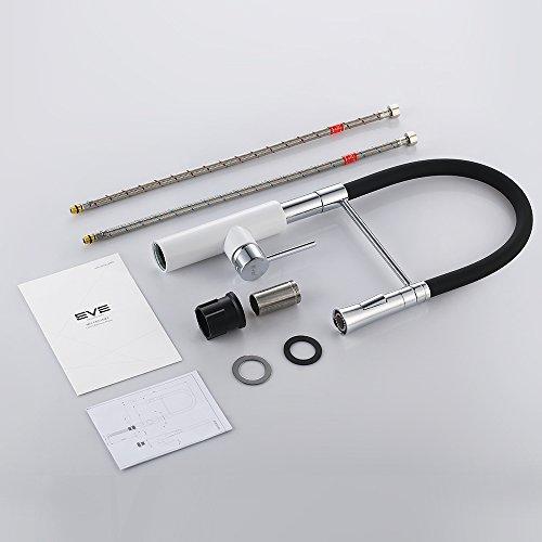 Homelody – Küchenarmatur mit hohem Auslauf, 360° drehbar, herausziehbar, Weiß-Chrom - 9