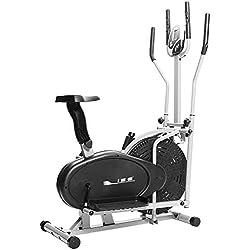 ISE Bicicleta Elíptica 2in1 Professional de Fitness, Bicicleta Estática de Gimnasio con Resistencia Ajustable, Máquina Elíptica para Casa con Sensor de Pulso, Sillín Ajustable, Máx. 100kg, SY-9002