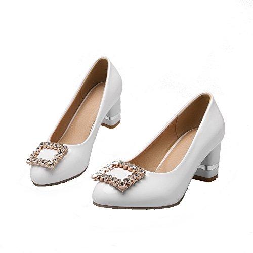 AgooLar Femme Verni Tire Rond à Talon Bas Couleur Unie Chaussures Légeres Blanc