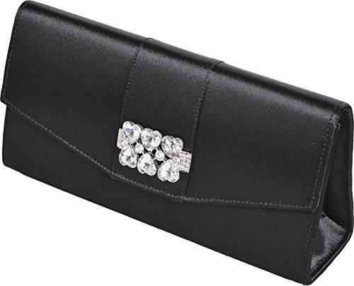 NATASHA - Damen Clutch mit diamanten Steine in Herzform Schwarz