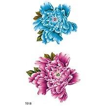 GGSELL GGSELL peonía temporal tatuajes pegatinas para las mujeres y las niñas, uno peonía adhesivo de papel, 1Azul y 1rosa peonía