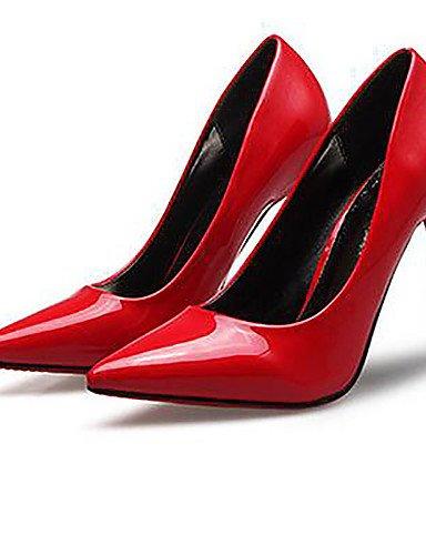 WSS 2016 Chaussures Femme-Habillé-Noir / Rouge / Amande-Talon Aiguille-Talons / Bout Pointu / Bout Fermé-Talons-Similicuir red-us5 / eu35 / uk3 / cn34