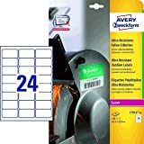 Avery Zweckform Folien-Etiketten ultra-resistent 63,5x33,9mm VE=10 Bogen/240 Etiketten weiß