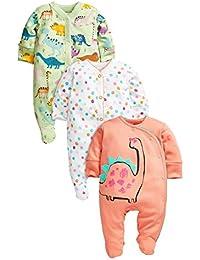 next Bebé Niña Paquete De Tres Pijamas Peleles De Algodón Dinosaurios Colores Brillantes (0 Meses-2 Años)