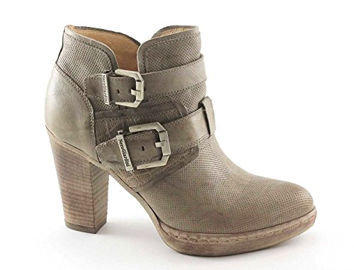NERO GIARDINI 17142 beige scarpe stivaletti donna tronchetti zip fibbie 38