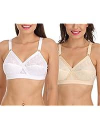 c689c1d44e2 Sona Women s Cross Chiken Everyday Plus Size Full Coverage Bra Multi Color  Pack of 2