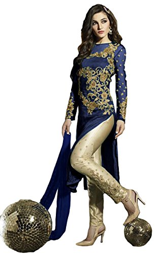 Justkartit Women's Semi-Stitched Navy Blue Colour Embroidery Salwar Suit Set / Georgette & Net Party Wear & Casual Smart Wear Salwar Kameez (Relaunch August 2016)