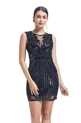 Flapper Fringe Kleid Kostüm - KILOLONE 1920 Flapper Kleid Mesh Patchwork Sexy rückenfreie Pailletten Fringe Perlen Kostüm Kleider